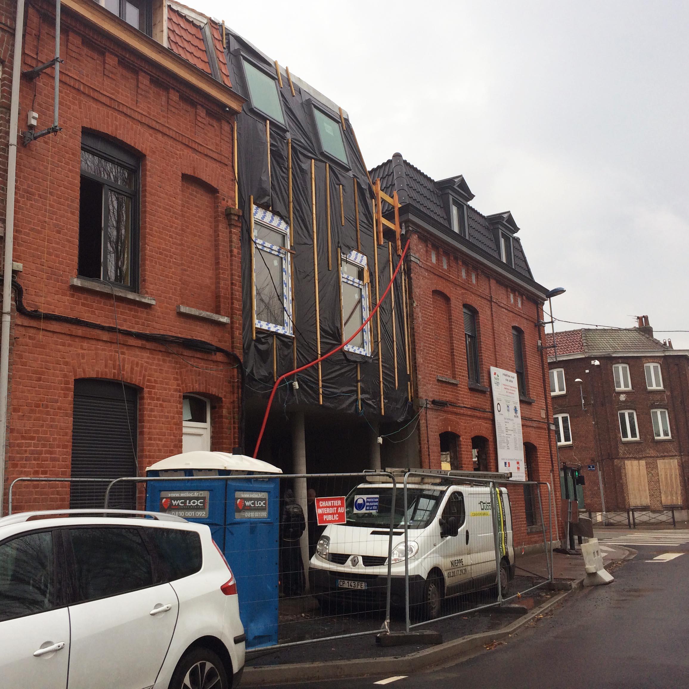Ossature bois Tourcoing rue du Dragon - Charpentier des Flandres