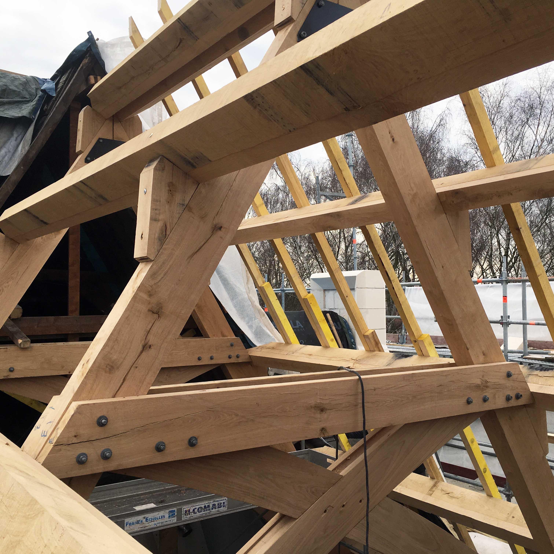 Ouvrages Spéciaux Rénovation Charpente bois Wambrechies château de Robersart - Charpentier des Flandres